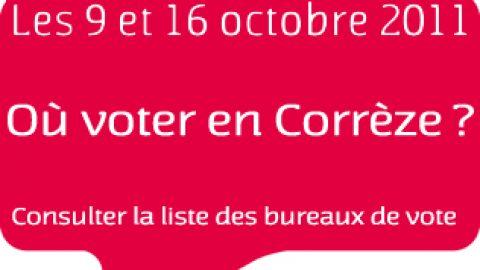 Primaires citoyennes en Corrèze > Carte et liste des bureaux de vote