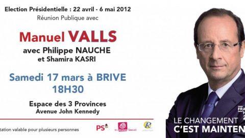 Réunion publique à Brive samedi 17 mars avec Manuel Valls
