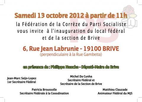 Inauguration du local du PS à Brive samedi 13 octobre