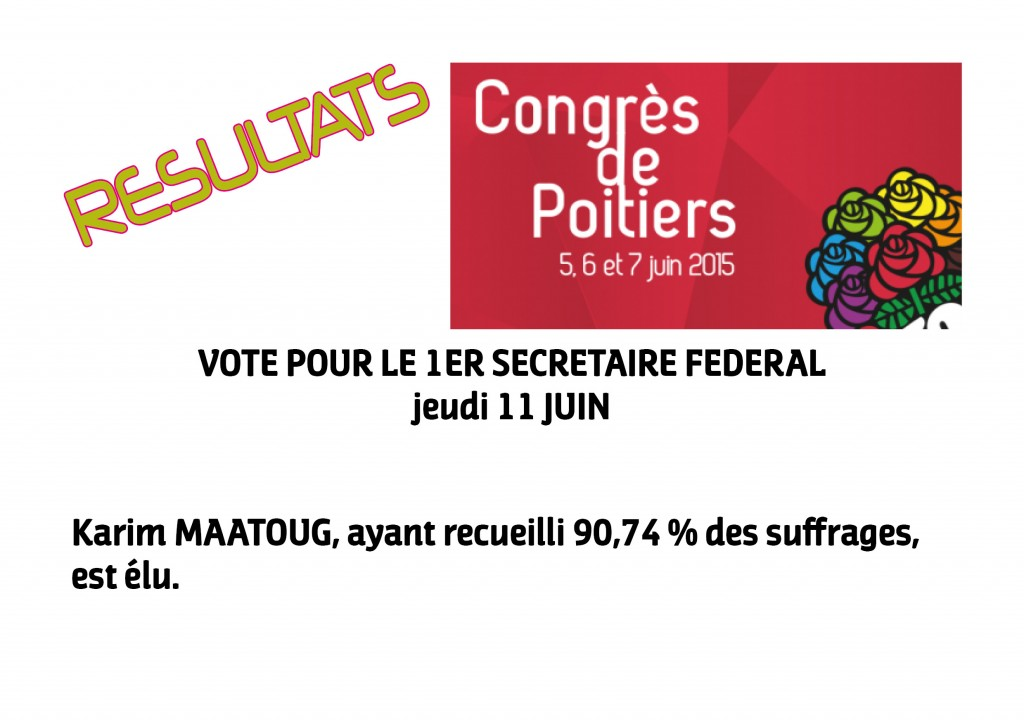 RESULTAT 1ER SECRETAIRE FEDERAL VOTE INTERNE