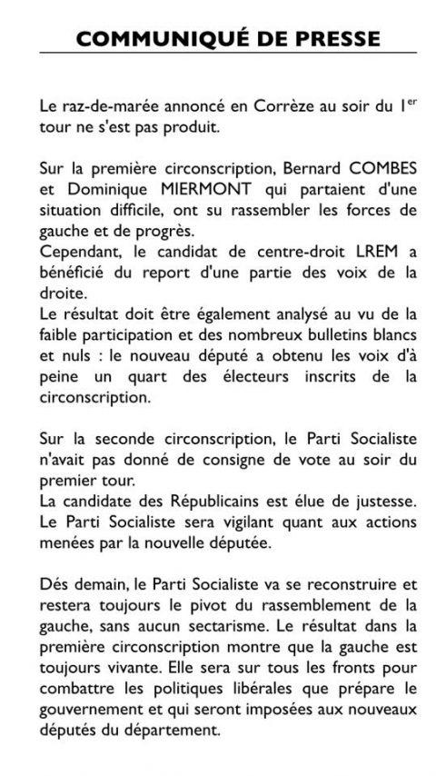 Eléctions législatives – Communiqué de Presse – 2ème tour