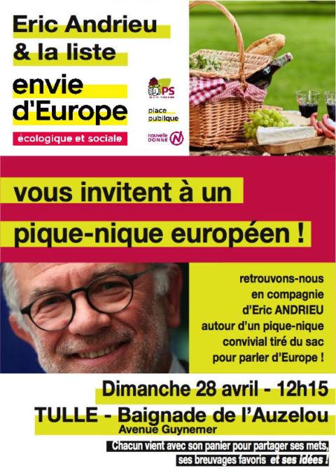 Pique-nique européen avec Eric ANDRIEU Dimanche 28 avril à TULLE