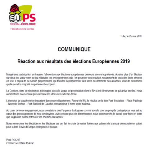 Réaction aux résultats des élections européennes en Corrèze