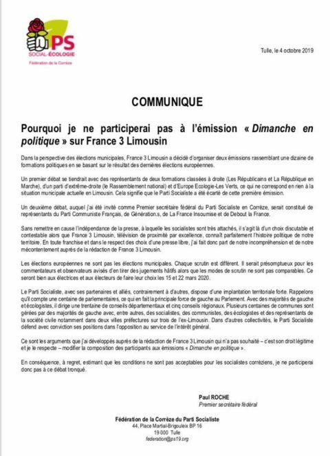 Pourquoi je ne participerai pas à l'émission « Dimanche en politique » sur France 3 Limousin