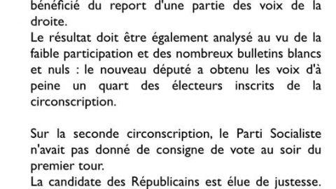 Elections législatives – Communiqué de Presse – 2ème tour