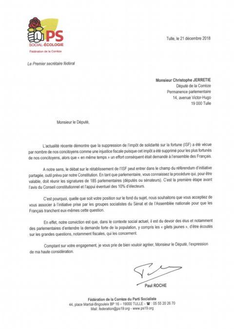 Référendum ISF: La Fédération de la Corrèze du PS sollicite les parlementaires corréziens