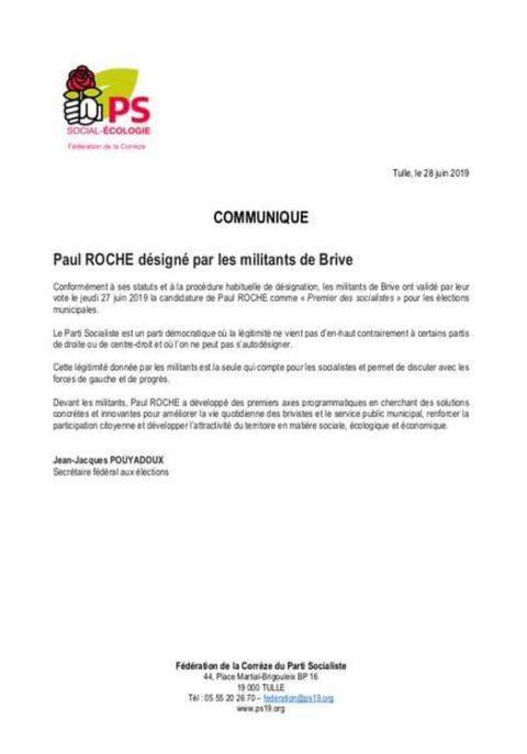 Paul ROCHE désigné par les militants de Brive